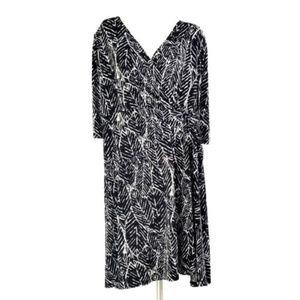 Black White Palm Leaf Faux Wrap Fit & Flare Dress